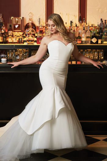 Justin Alexander Style 8933 Satin Mermaid Wedding Dress Accented with Apron Tulle and Organza Skirt Iskra Lawrence