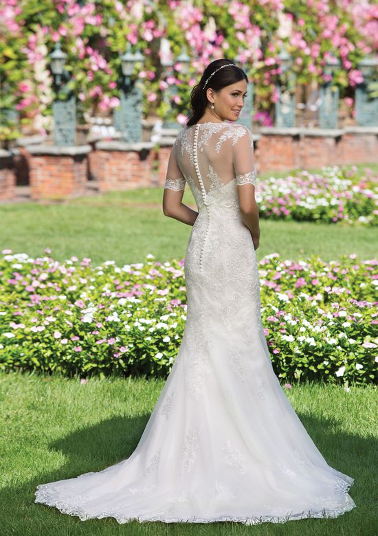 Sincerity Bridal Tulle Fit and Flare Gown with Popover Lace Jacket