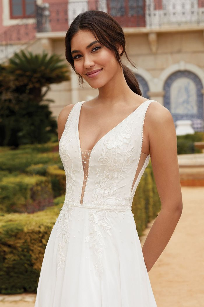 Sincerity Bridal Style 44242 Chiffon A-Line Gown with Open Lace Up Back and Scattered Beading
