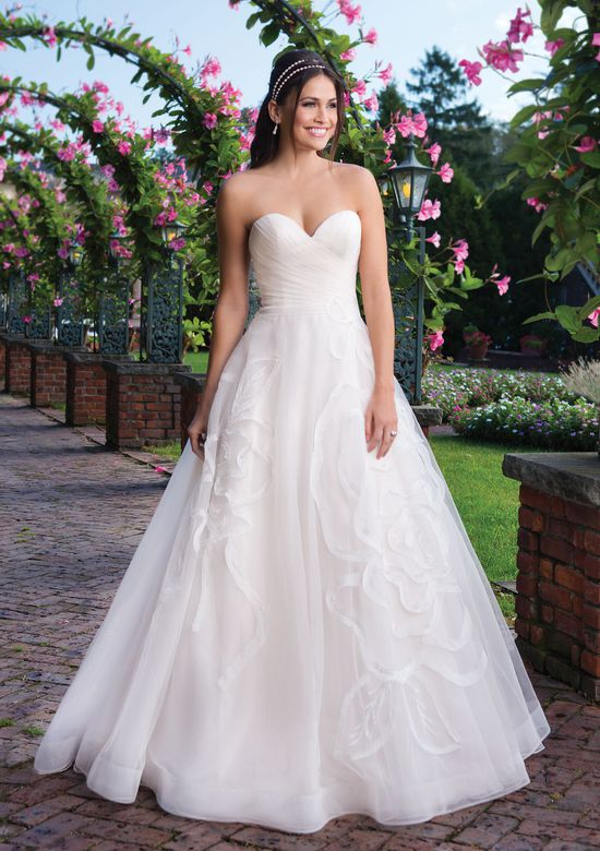 Sincerity Bridal Style 3910 Tulle Ball Gown with Crinkle Organza Floral Details
