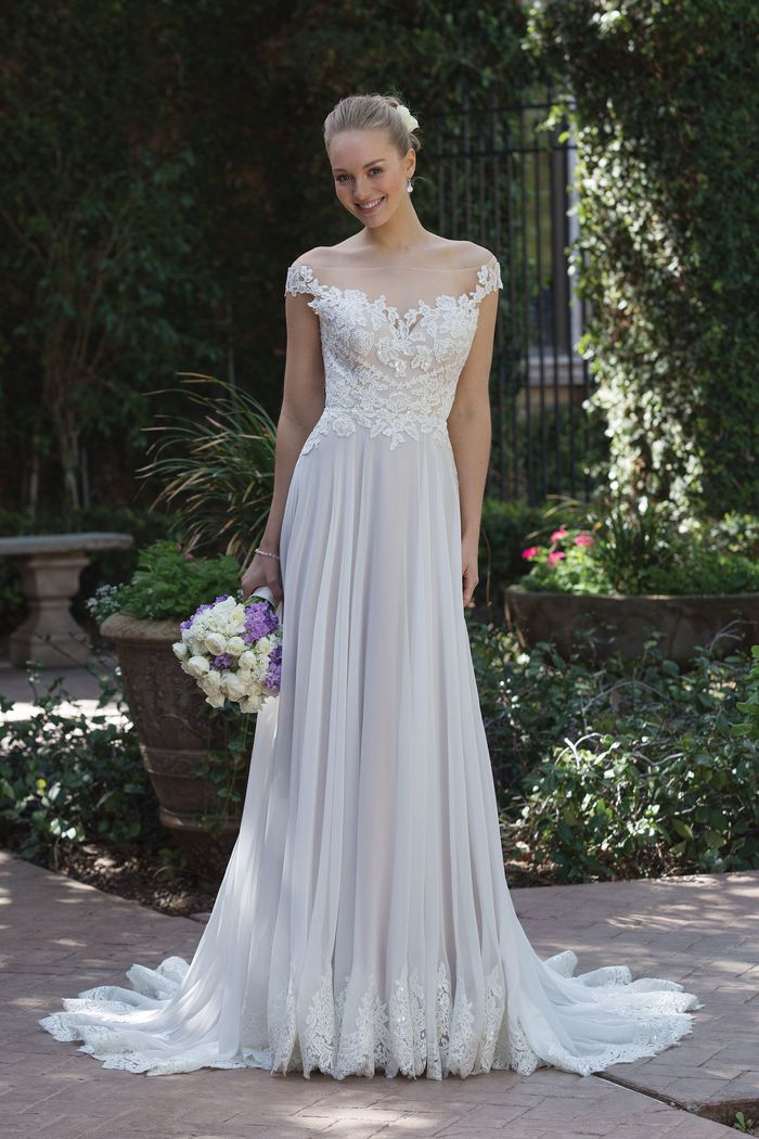 Sincerity Bridal Style 4030 Beaded Lace Off the Shoulder Gown with Chiffon Skirt