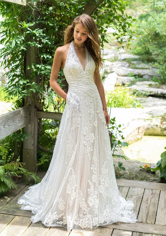 Lillian West Style 66017 Illusion A-Line Halter Gown with Allover Lace