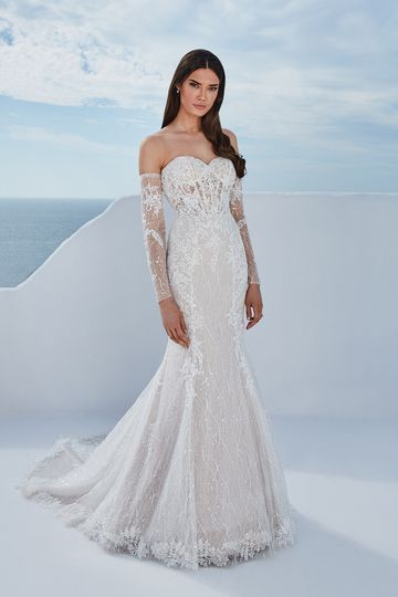 Justin Alexander Style 88197 Berta Fit and Flare Dress with Detachable Off the Shoulder Long Sleeves