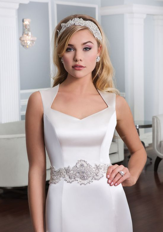 Lillian West Style 6333 Satin Queen Anne A-Line Gown