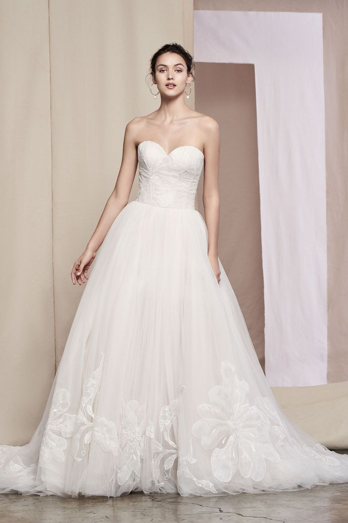 Justin Alexander Signature Style 99099 Fleur Voluminous Tulle Ball Gown with Floral Patchwork