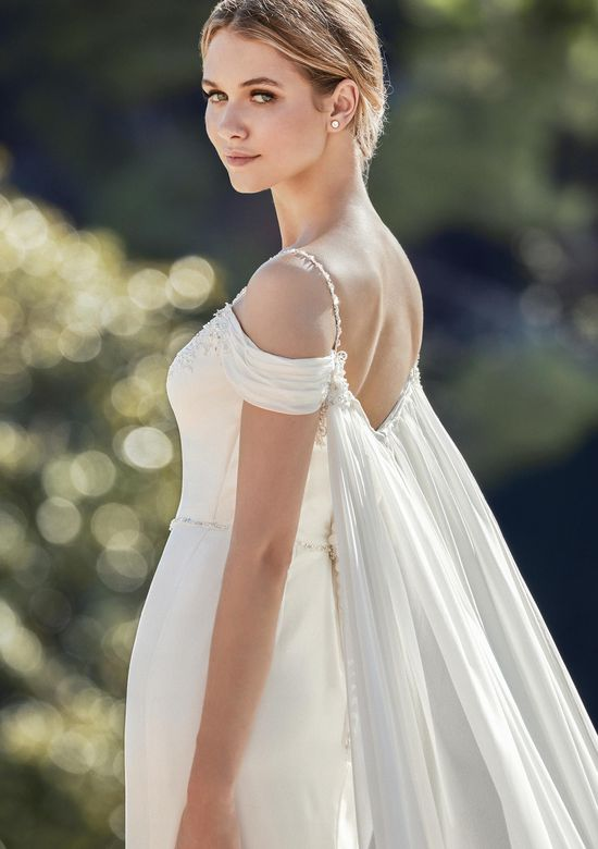 Sincerity Bridal Style 44129 Crepe Fit and Flare Gown with Off the Shoulder Detail
