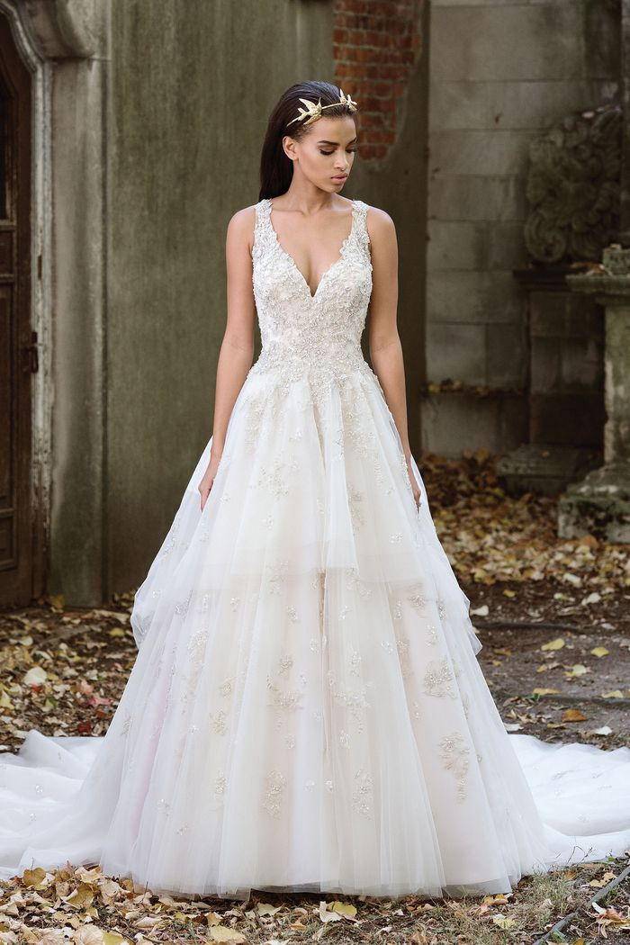 Justin Alexander Signature Lavish Tiered Tulle Ball Gown with Illusion Back