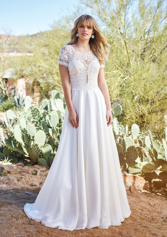 Lillian West Style 6508 Short Sleeve Gown with Silk Chiffon Skirt and Keyhole Back