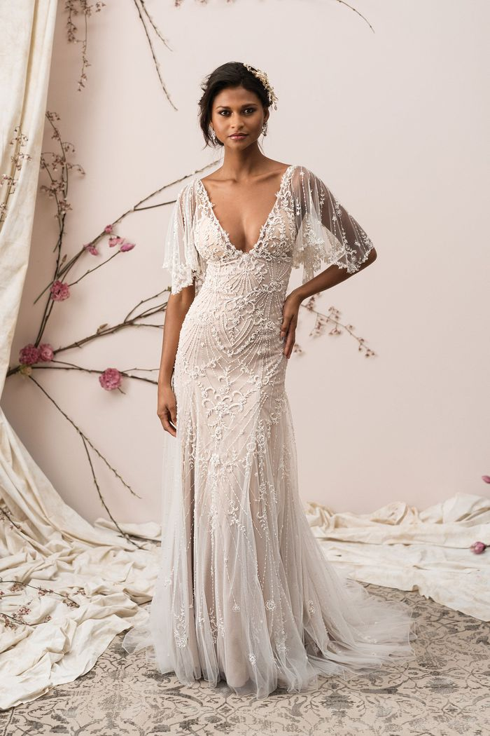 Style 9890 Beaded Tulle A Line Gown With Illusion Flutter Sleeves Justin Alexander Signature