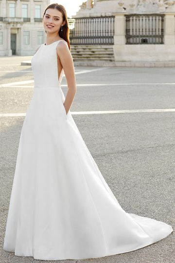 Adore by Justin Alexander Style 11151 Classic A-Line Gown with Sabrina Neckline and Low Back