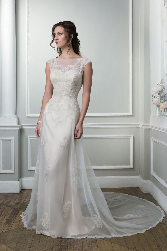 Style 6383 Satin Slim Gown With Lace And Tulle Overlay Lillian West,Fall Second Marriage Wedding Dresses Color