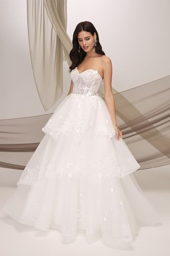 Justin Alexander Signature Style 99128 THIRA Beaded Tiered Skirt Gown with 3D Flowers and Chantilly Lace