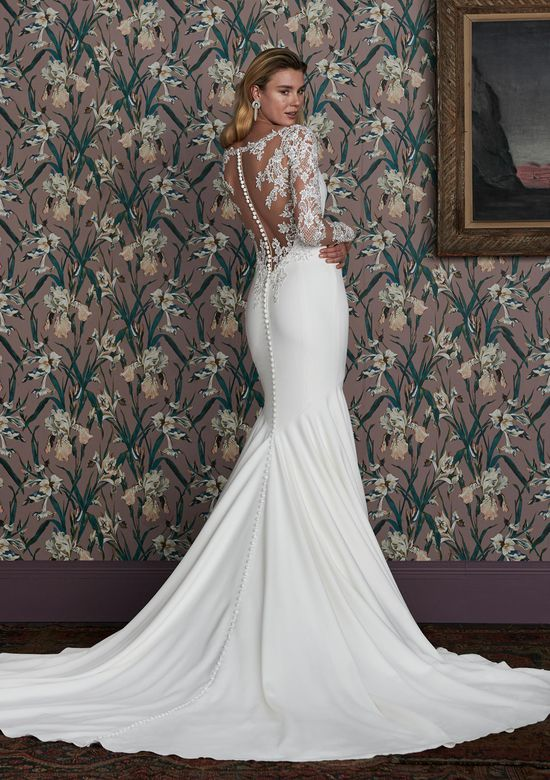 Justin Alexander Signature Style 99150 GILLESPIE Crepe Fit and Flare Gown with Long Sleeves and Illusion Back