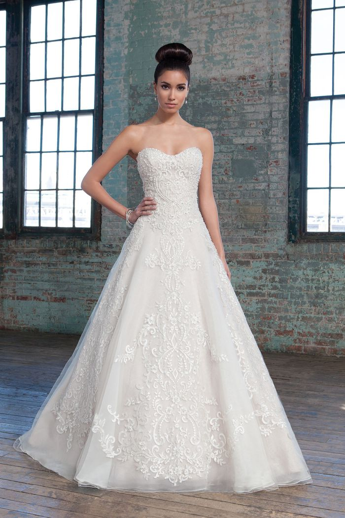 Justin Alexander Signature Style 9805 Beaded Metallic and Chantilly Lace over Organza Ball Gown