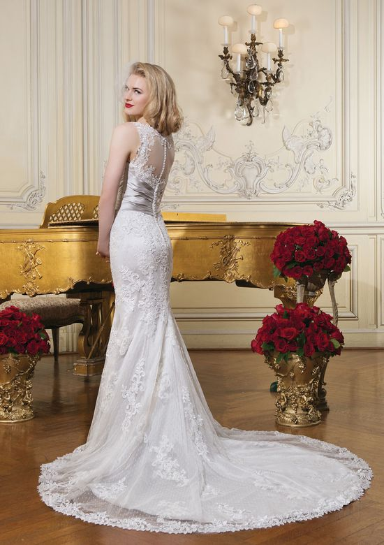 Justin Alexander Style 8596 Lace Trumpet Wedding Dress with Sabrina Neckline