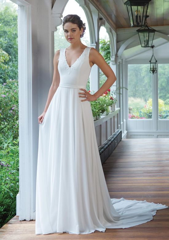 Sweetheart Gowns Style 11053 V-Neck Chiffon A-line Gown with Beaded Illusion Back Bodice