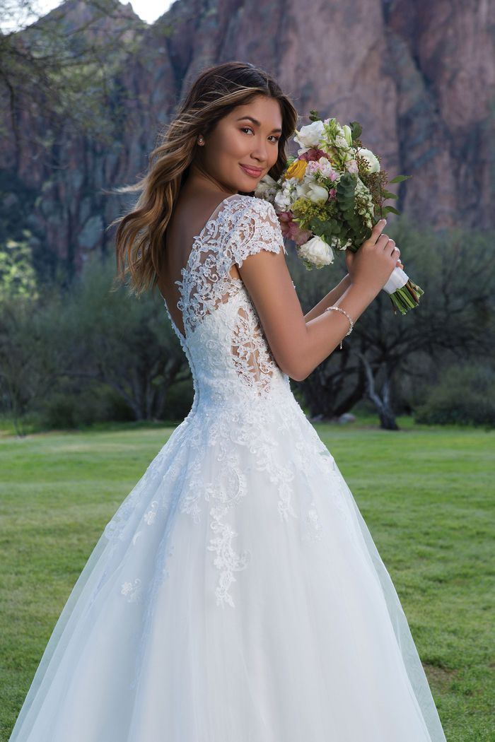 Sweetheart Gowns Style 1134 Lace and Tulle Ball Gown with V-Back and Short Sleeves