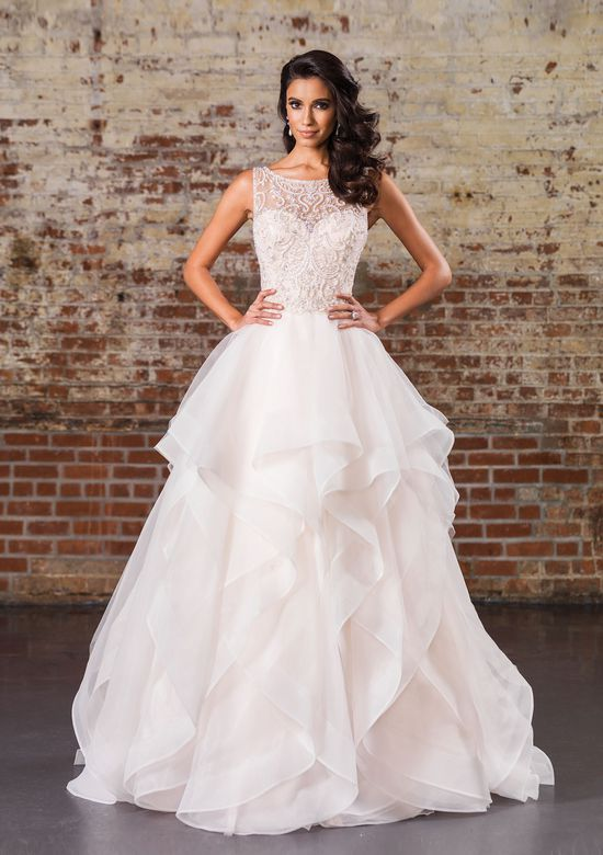 Justin Alexander Signature Style 9847 Opulent Beaded Illusion Bodice and V-Back with Layered Skirt