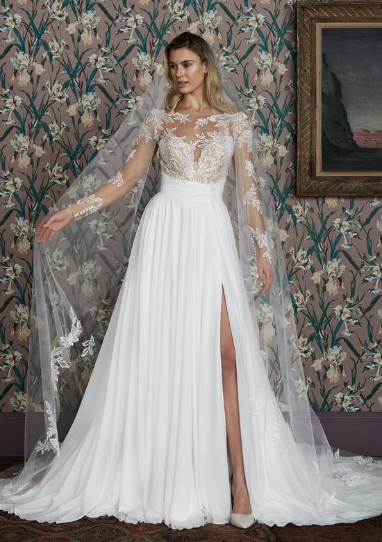 Justin Alexander Signature Style 99141V ADDERLEY VEIL Cathedral Length Veil with Beaded Chiffon Appliques