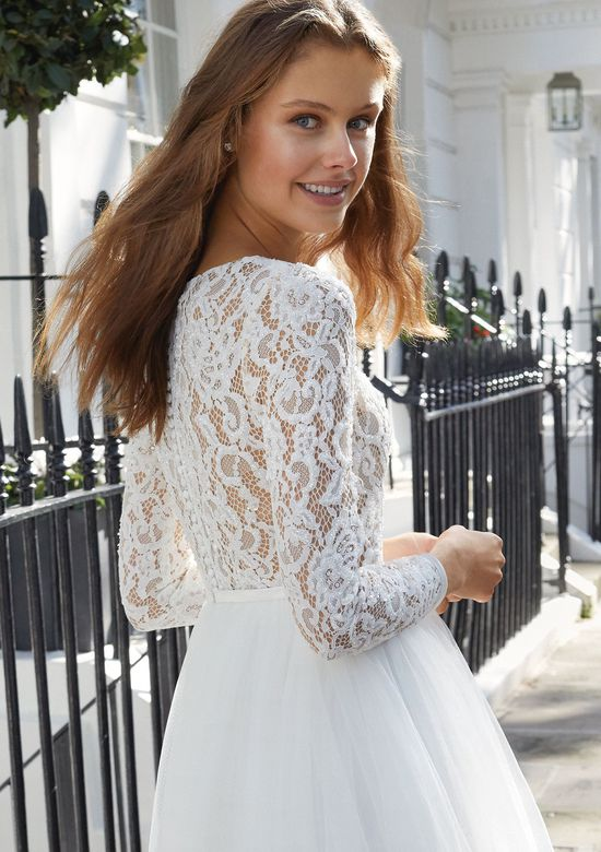 Adore by Justin Alexander Style 11100 Long Sleeve Knee Length Dress with Beaded Lace and Tulle Skirt