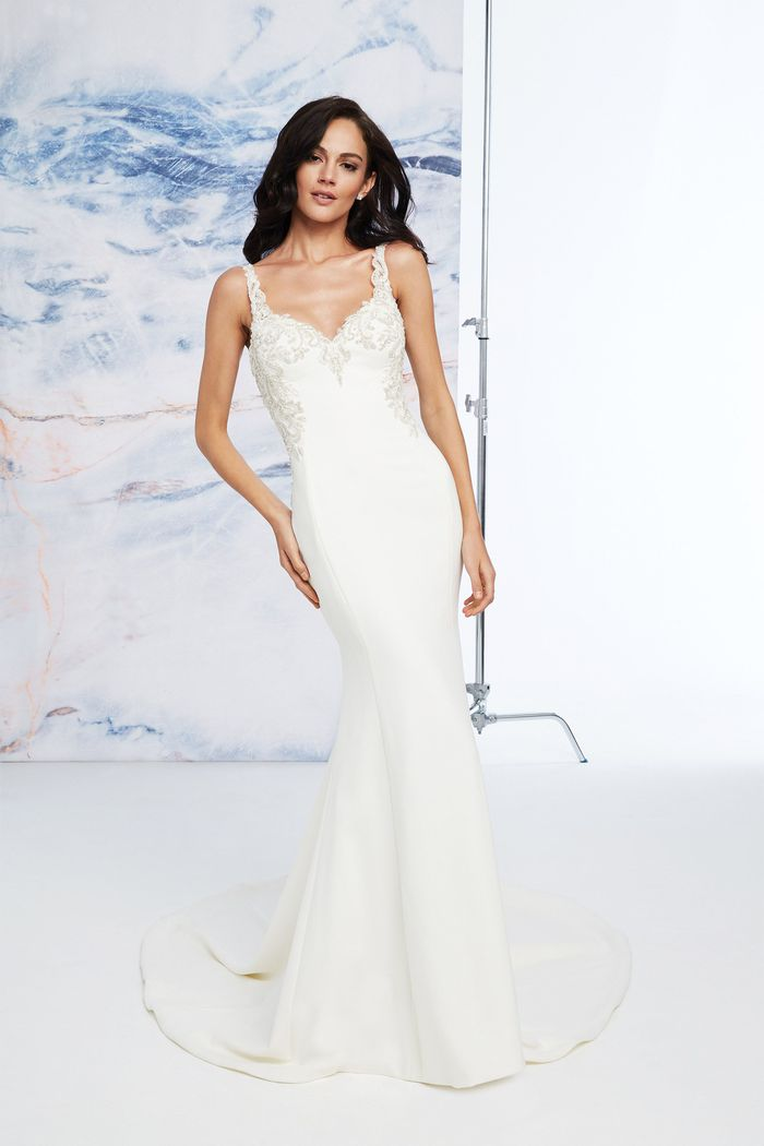Justin Alexander Signature Style 99062 Crepe Fit and Flare Beaded V-Neck Dress