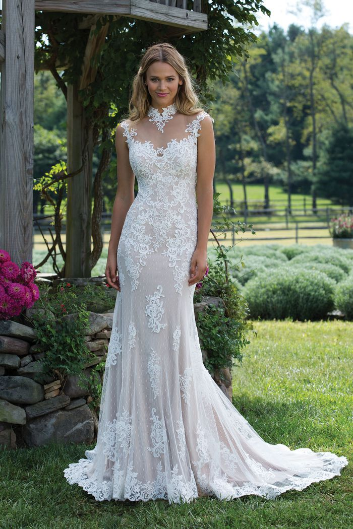 Sincerity Bridal Beaded Embroidered Lace Gown with Mandarin Collar