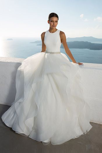 Justin Alexander Style 88023 Jewel Neck Layered Ball Gown with Beaded Belt