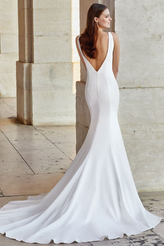 Adore by Justin Alexander Style 11154 V-Back Crepe Fit and Flare with Sabrina Neckline