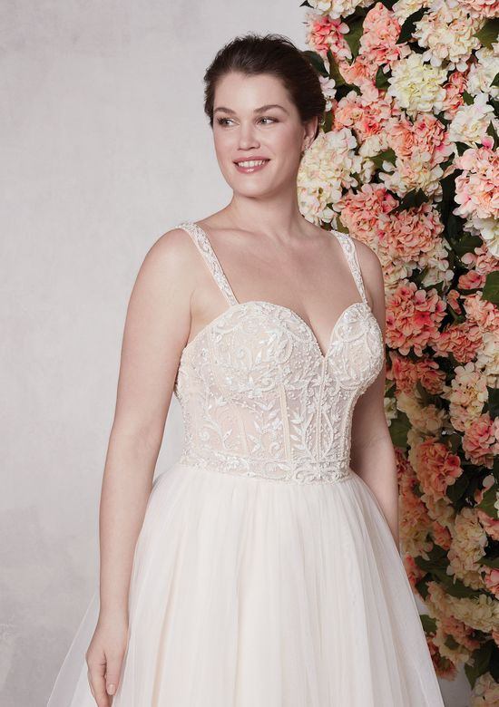 Sincerity style 44147 Beaded Illusion Bodice with Full Tulle A-Line Skirt