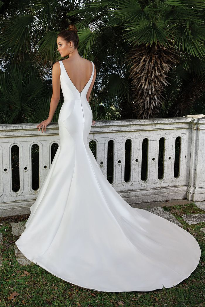 Justin Alexander Style 88107 Clean V-Neck Fit and Flare Gown