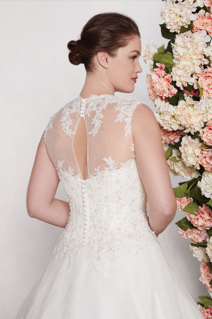 Sincerity Bridal style 4409 Embroidered Lace and Tulle Gown with Cascaded Beading