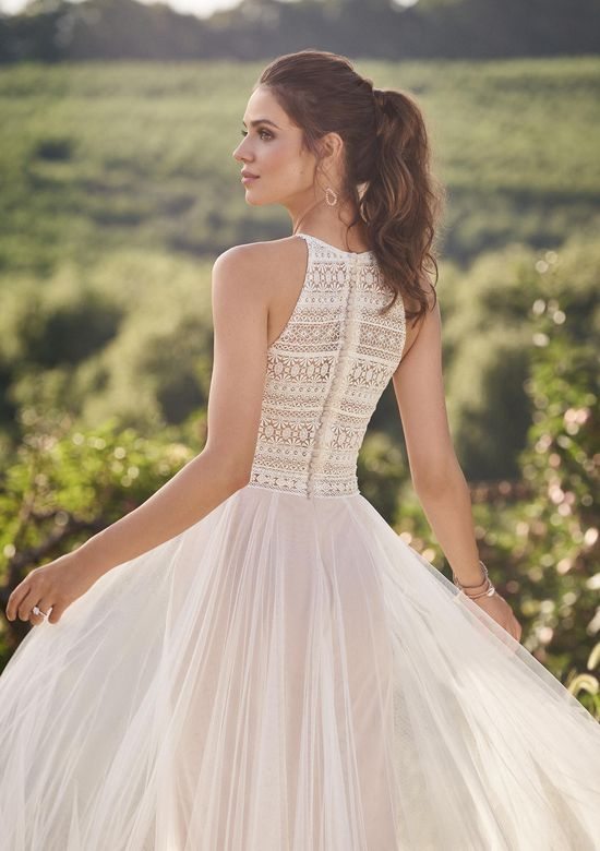 Lillian West Style 66130 Lace Illusion Bodice A-Line Gown with Jewel Neckline