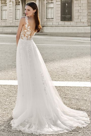 Adore by Justin Alexander Style 11142 Floral Lace A-Line Dress with Illusion Back