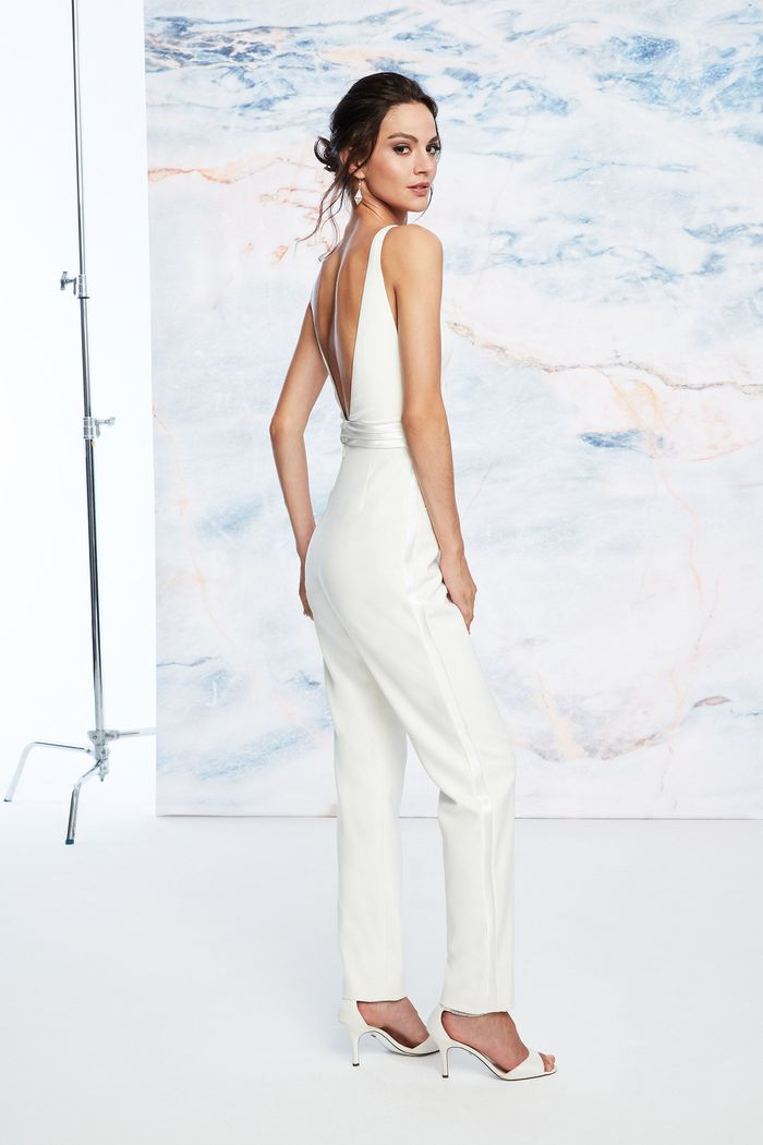 Justin Alexander Signature Style 99052 V-Neck Crepe Jumpsuit with Satin Cummerbund and Cape
