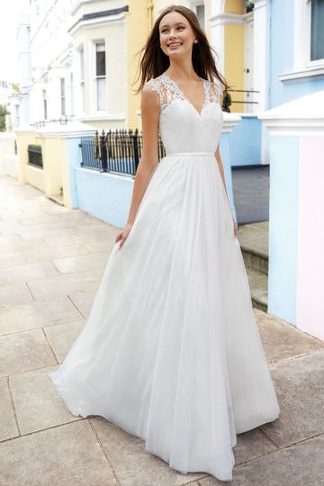Adore by Justin Alexander Style 11104 English Net A-Line Gown with Lace Cap Sleeves and Illusion Back