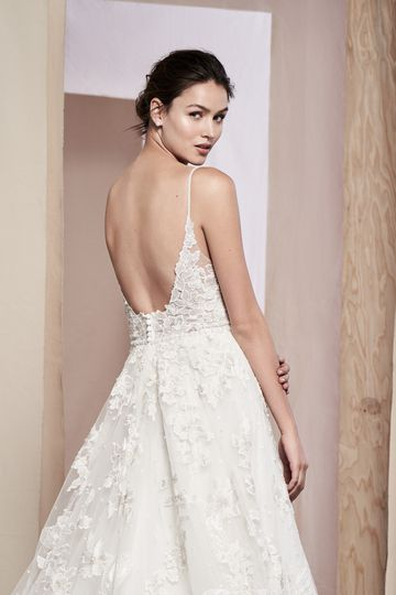 Justin Alexander Signature Style 99088 Ayana V-Neck Ball Gown with Flower Appliques