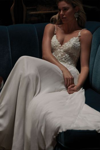 Justin Alexander Signature Style 99146 NORA Chiffon A-Line Gown with Spaghetti Straps and Crosshatch Beading