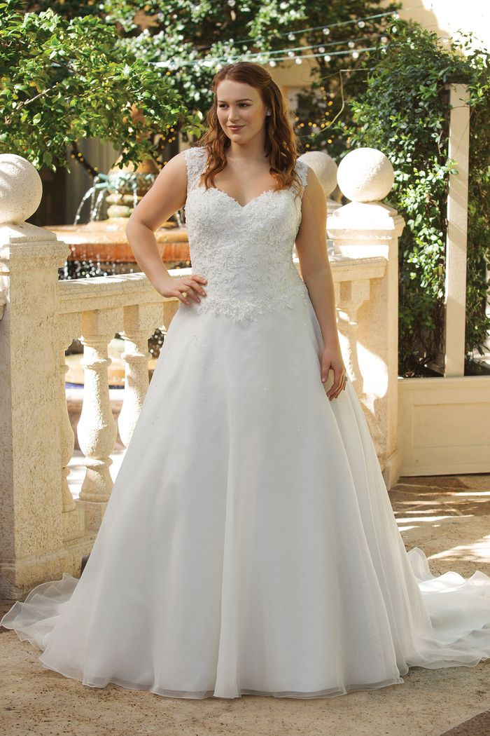 Sincerity Bridal Style 4009PS Embroidered Lace and Tulle Plus Size Gown with Cascaded Beading