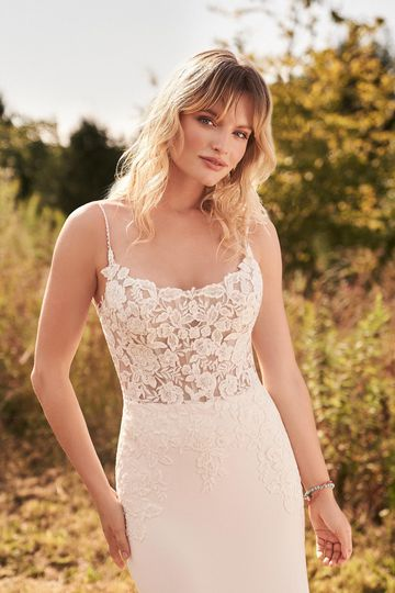 Lillian West Style 66180 Scoop Neck Crepe Fit and Flare Bridal Dress with Illusion Bodice