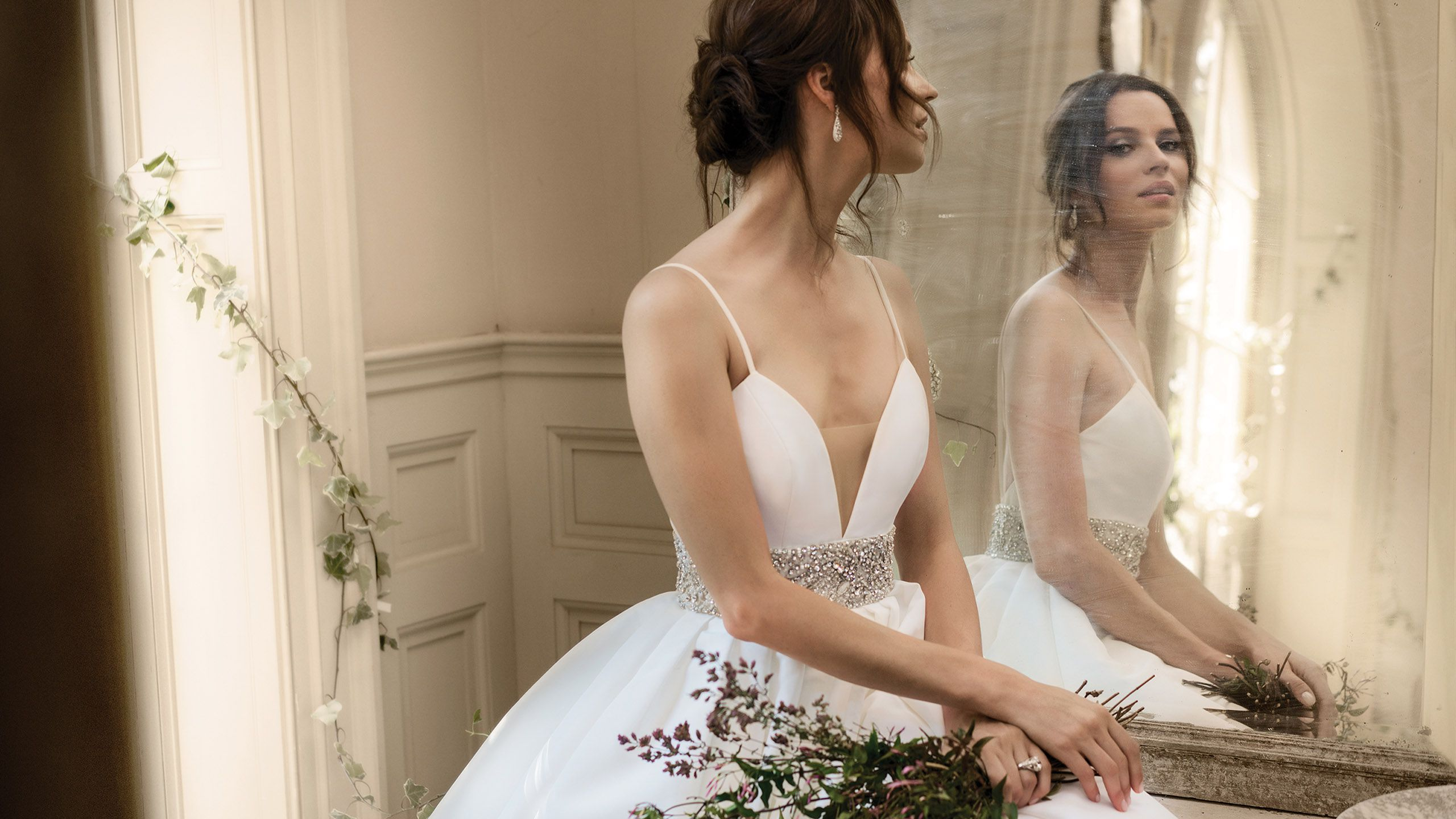 - Style 9878: Pleated Ball Gown with Beaded Waistband