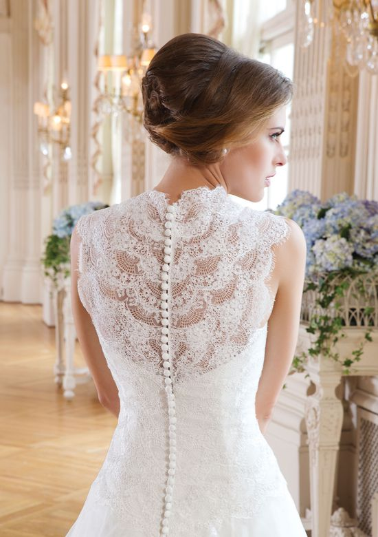 Lillian West Style 6348 Scalloped Lace Back Ball Gown