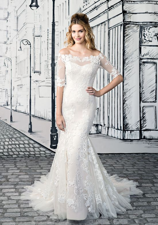 Justin Alexander  Off the Shoulder Lace Gown with Elbow Illusion Lace Sleeves