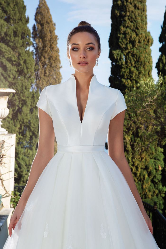Justin Alexander Style 88132 Clean Mikado Dress with Detachable Skirt