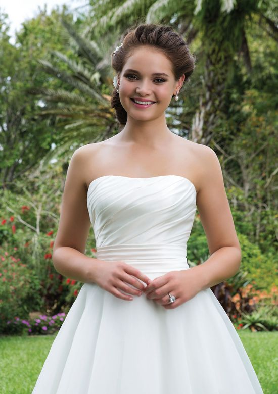 Sweetheart Gowns Style 6115 Strapless Organza Ball Gown with Ruched Satin Bodice and Cummerbund