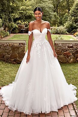 Sincerity Bridal Style 44279 Sweetheart Ball Gown with Detachable Straps and Floral Appliqués