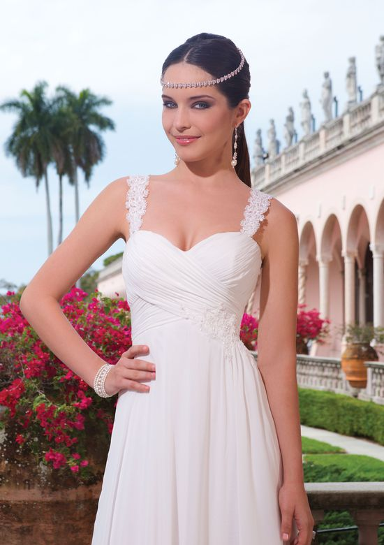 Sweetheart Gowns Style 6046 Chiffon A-line dress embellished by a sweetheart neckline