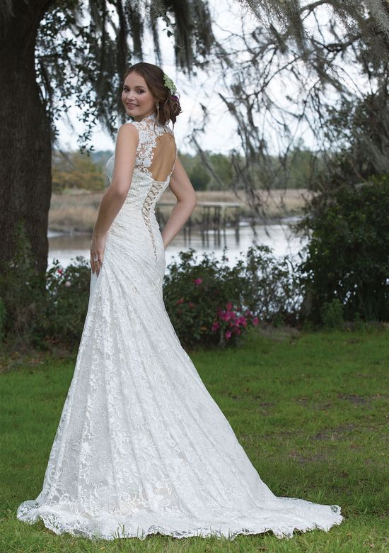 Sweetheart Gowns Style 6181 Lace Gown with Ruched Waistline and Keyhole Back