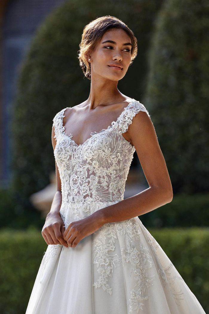 Sincerity Bridal Style 44151 Open Sweetheart Gowns Style  A-Line Gown with Tulle and Beaded Lace Appliques