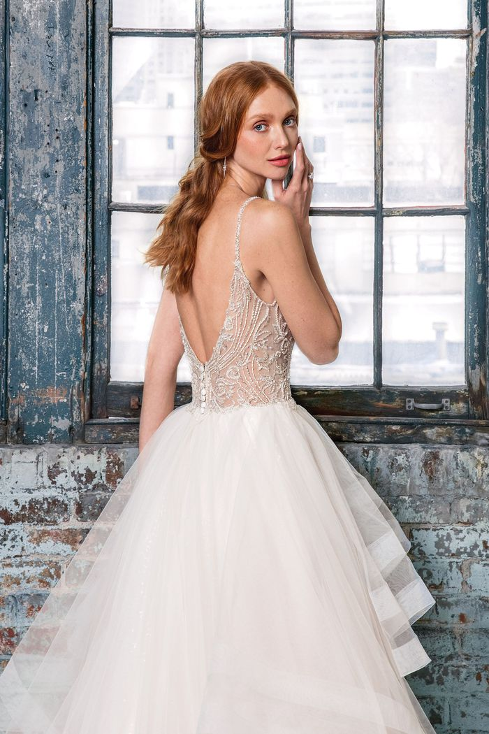 Justin Alexander Signature Style 99017 Beaded V-Neck Bodice with Layered Horsehair Skirt