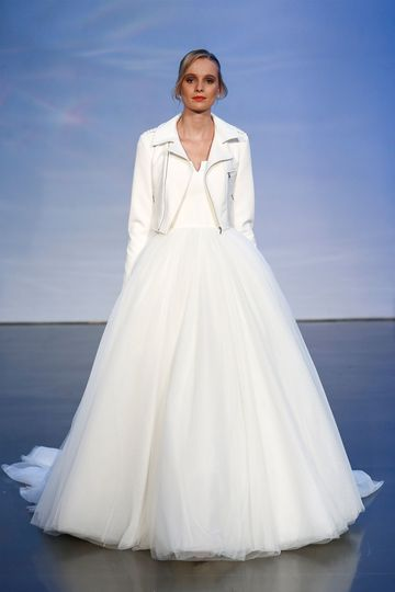 Justin Alexander Signature Style 99056 Crepe Ball Gown with Tulle Skirt and Moto Jacket